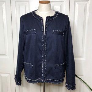 Chico's size 2-2.5 zip up jacket, tweed detailing